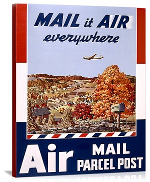 US Postal Air Mail Service Vintage Printed On Canvas