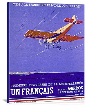 French Mediteranean Aviation Flight Vintage Printed On Canvas