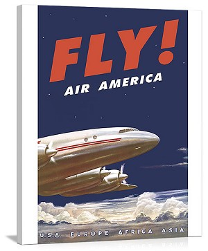 50s Fly Air America Constellation Vintage Printed On Canvas