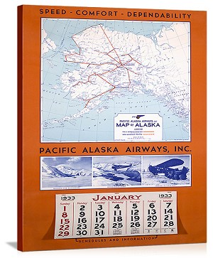 Pacific Alaska Airways Airline Vintage Printed On Canvas