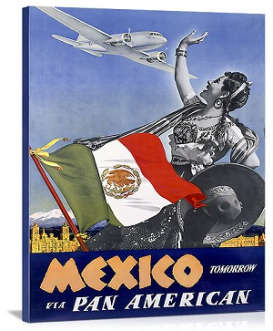 Pan American Mexico Tomorrow Vintage Printed On Canvas