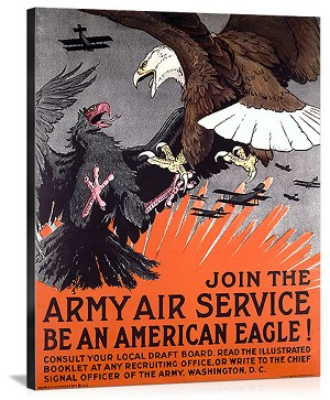 Join the Army Air Service War Eagle Vintage Printed On Canvas