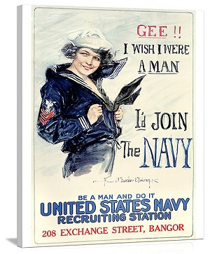 WWII US Navy I Wish I Were a Man Vintage Printed On Canvas
