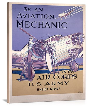 WWII AAF Army Air Corps Aviation Mechanic Vintage Printed On Canvas