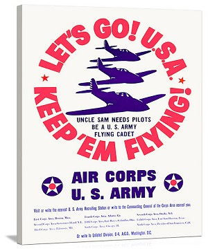 WWII US Army Air Corps Lets Go Vintage Printed On Canvas