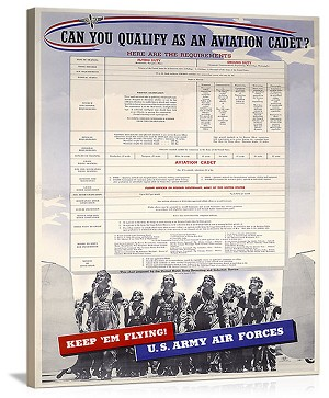 WWII US Army Air Forces Recruiting Vintage Printed On Canvas
