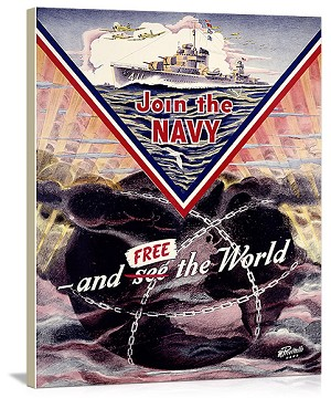 WWII US Navy Join the Navy Mine sweeper Vintage Printed On Canvas