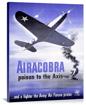 WWII Army Air Corps Airacobra P40 Vintage Printed On Canvas