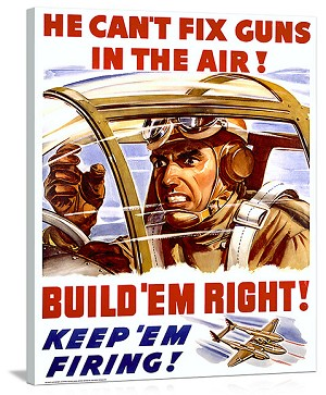 WWII US Homefront Keep Em Firing Vintage Printed On Canvas