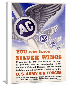 WWII AAF You Can Have Silver Wings Vintage Printed On Canvas