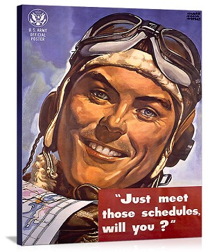 WWII AAF Army Air Corps Vintage Printed On Canvas