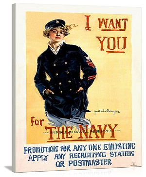 WWII US Navy Recruiting Vintage Printed On Canvas