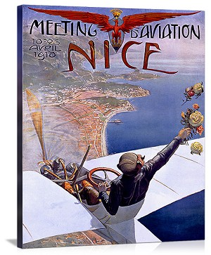 Nice Aviation Air Show Vintage Printed On Canvas