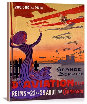 French Aviation Week Air Show Vintage Printed On Canvas