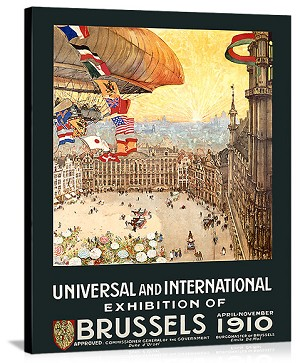 Universal International Exhibition Brussels Vintage Printed On Canvas