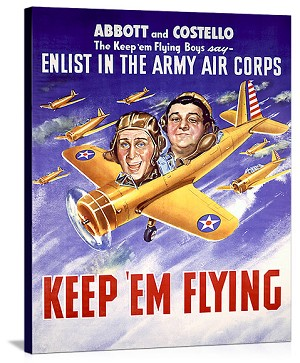 WWII Abbott and Costello Recruiting Vintage Printed On Canvas