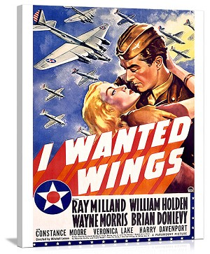 William Holden WWII AFF Wings Movie Vintage Printed On Canvas