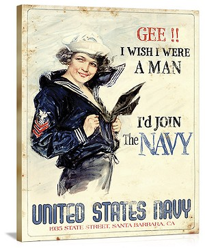 United States Navy Vintage Printed On Canvas