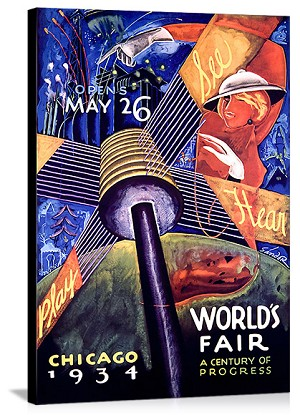 Worlds Fair Chicago 1934 Vintage Printed On Canvas