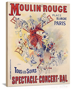 Moulin Rouge Vintage Printed On Canvas