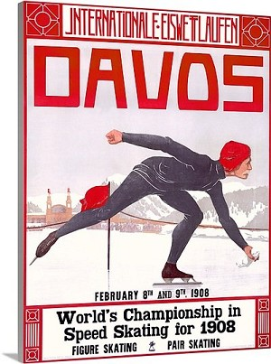 Davos World Championship in Speed Skating Vintage Printed On Canvas