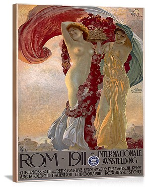 ROM 1911 Vintage Printed On Canvas