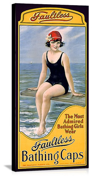 Faultess Bathing Caps Vintage Printed On Canvas