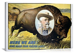 Buffalo Bill Home Again Vintage Printed On Canvas