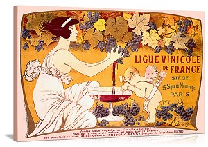 Ligue Vinicole de France Vintage Printed On Canvas