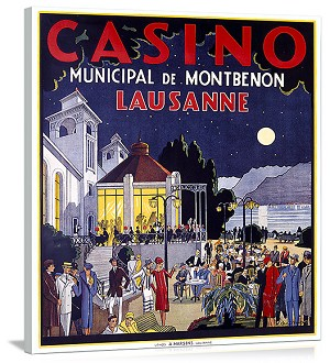 Casino Lausanne Vintage Printed On Canvas