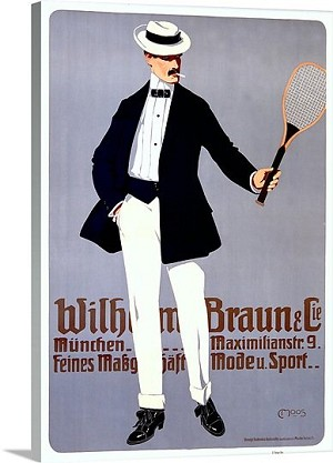Wilhelm Braun Tennis Racket Vintage Printed On Canvas