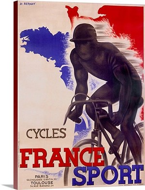 Cycles France Sport Vintage Printed On Canvas