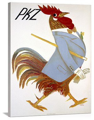 PKZ Rooster Vintage Printed On Canvas