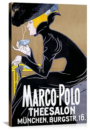 Marco Polo Thee Salon Vintage Printed On Canvas