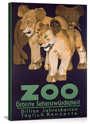 Zoo Grosste Schenswurdigkeit Vintage Printed On Canvas (COPY)