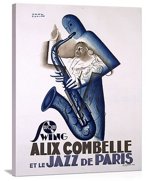 Alex Combelle Jazz de Paris Vintage Printed On Canvas