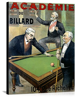 Academie de Billard Vintage Printed On Canvas