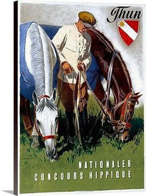 Thun Nationaler Concours Hippique Vintage Printed On Canvas