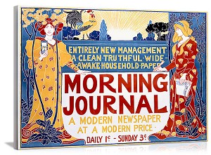 Morning Journal Newspaper Vintage Printed On Canvas