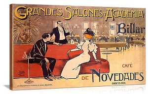 Grandes Salones y Academia de Billar Vintage Printed On Canvas