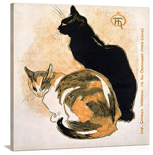 Two Cats Vintage Printed On Canvas