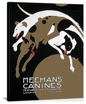 Meehans Canines, Hound Circus Dogs Vintage Printed On Canvas