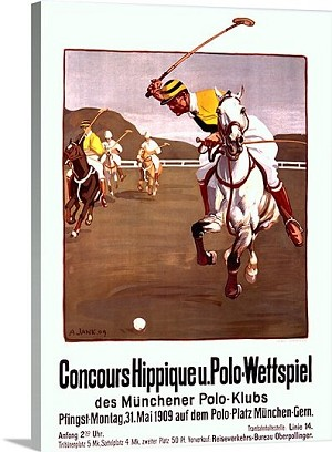 Polo Concours Hippique Vintage Printed On Canvas