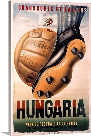Hungaria Football and Rugby Shoes Vintage Printed On Canvas