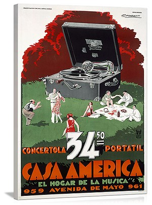 Casa America Portable Phonograph Vintage Printed On Canvas