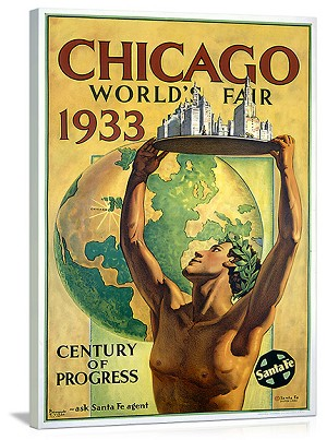 Chicago Worlds Fair 1933 Vintage Printed On Canvas