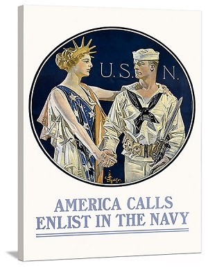 America Calls Enlist in the Navy Vintage Printed On Canvas