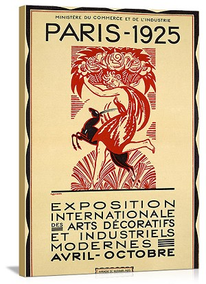 Paris Art Exposition 1925 Vintage Printed On Canvas