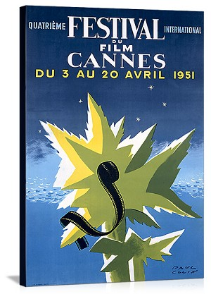 International Film Festival Cannes 1951 Vintage Printed On Canvas