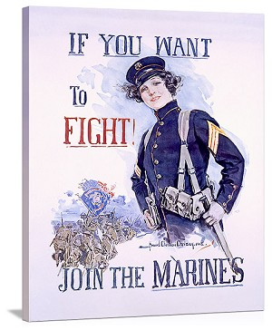 Join the Marines Vintage Printed On Canvas